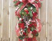Christmas Wreath Candy Cane Red Green Door Swag