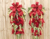 Christmas Wreaths, Two Red Leopard Poinsettia Door Swags, Animal Print Christmas Wreaths