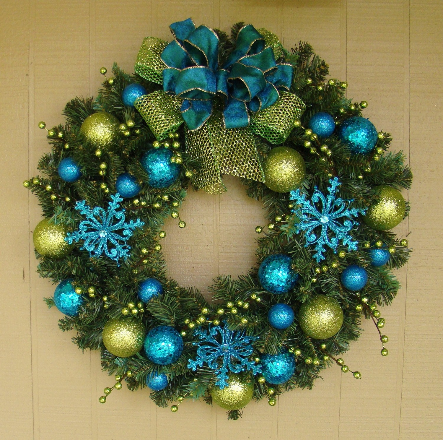 Fancy Modern Turquoise Lime Colorful Pop Christmas Wreath