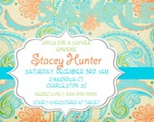 Floral Paisley Baby Shower Invitation YOU PRINT