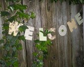 WELCOME - Eco Friendly Fabric Garland, banner, sign, recycled