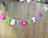 baby shower decorations, priced per letter, new baby gift, baby girl name garland, fabric garland