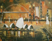 Sydney - Original Painting - sunset - sydney opera house art - fineart original - painting on canvas - sydney landscape - sydney cityscape