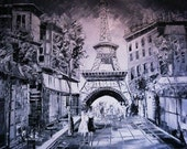 Paris-Original Painting - Black and White - Eiffel tower - art - Large Painting - Abstract Original Modern