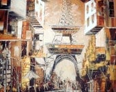Paris - Original Painting-french style- Wall art - Ready to Hang- home decor  - orange - white - Coffee brown - eiffel towert - Big Painting
