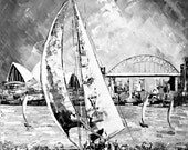 Black and White Painting - Sailing Painting - Boat painting - Original Acrylic Painting on Canvas- Original art