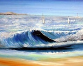 Original Seascape - Original Painting - Acrylic Painting on Canvas -Sailing - Fineart Print -Australian art- Painting on Canvas - Art
