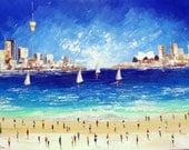 Sydney - Original Painting - Beach Painting - Sydney Opera House-  modern painting - Sydney Tower - Australian Seascape- oz art - cityscape