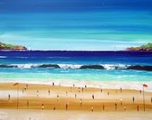 Amazing  American Beach - Original Painting -   Seascape art - unique artwork - home decor - sand - seascape - aqua - blue - art