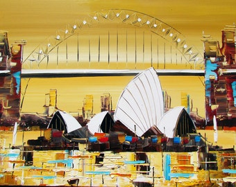 Sydney Operahouse Art -Original Painting Acrylic on Canvas - Wall Art - Home decor - Yellow sepia - Mint  - Aqua - Scarlet Red