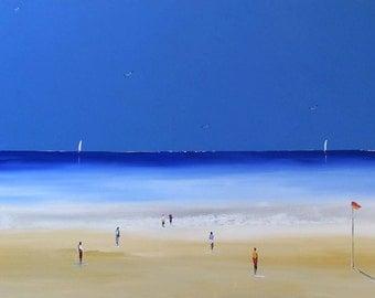 Seascape - Wonderful Beach -  Original Acrylic  Painting on Canvas - Beach painting - Painting on canvas- Acrylic painting