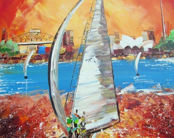 Sailingboat- Original Painting - Painting on Canvas -  red - scarlat -sunset - sailing boats - australian art