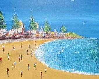 Beautiful Painting - Manly Beach - Australian Original Painting-  Seascape art - Ocean artwork - Sea Painting - wall art - home decor