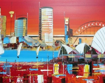 Origina Art - Sydney Operahouse - Painting-Red & White - Abstract - Cityscape - Sydney - Scarlet - Red- Wallart- Specialoffer