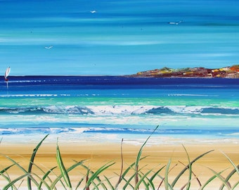French Beach - Original Painting - Original Art -  Seascape art - unique artwork - home decor - sand - seascape - aqua - blue - art