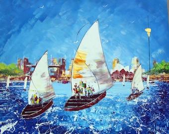 Australian  Art - Original Sailing Painting - Blue Painting- Abstract  - Sailing Boats - Wallart- Special artwork