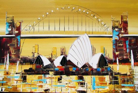 Sydney Operahouse Art -Original Painting Acrylic on Canvas - Wall Art - Home decor - Yellow sepia - Mint  - Aqua - Scarlet Red
