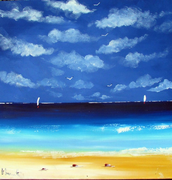Seascape - beach painting - acrylic on canvas artwork -  blue white yellow rare - Sydney Australia scene - Wall Art - Home decor