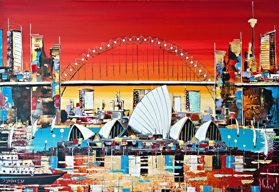 Sydney Operahouse Art -Original Painting - Acrylic on Canvas - Wall Art -  Sydney art - cityscape- modern art- abstract art -