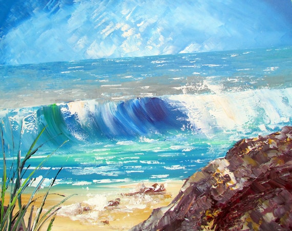Wave Painting - Original Seascape Painting - Blue Painting- Abstract Art - Huge artwork - Abstract Acrylic Painting on large canvas