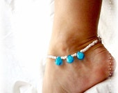 Ocean Teardrops Blue Anklet Beach Vacation Ankle Bracelet