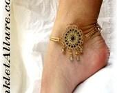 Belly Dance Gold Filigree Gypsy Slave Anklet Elegant Blue Stone Ankle Bracelet Strong
