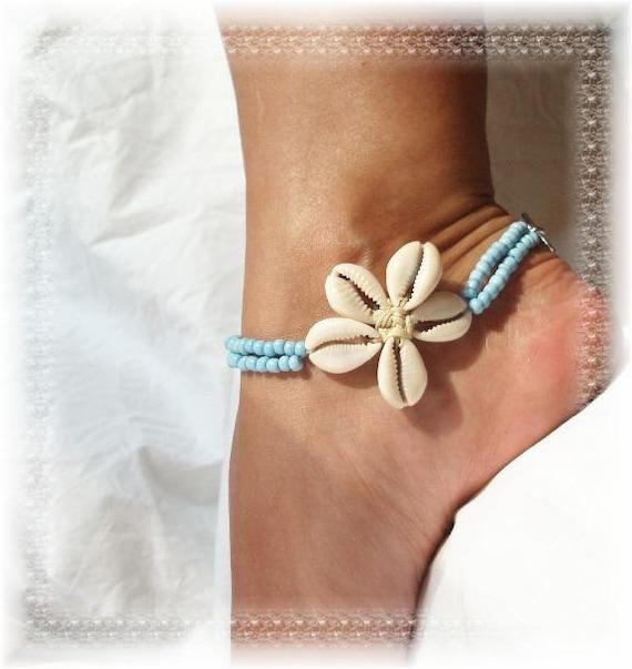 Flower Shells Island Girl Blue Anklet Ankle Bracelet 2 Strand Strong 9.8 in
