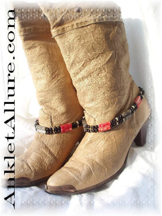 Vintage Southwestern BoHo Red Black Boot Chains Western Jewelry Biker Bracelets