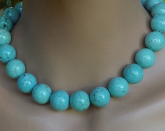 Turquoise Dyed Howlite 18mm Beaded Necklace