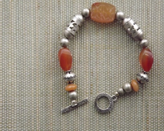 Red Agate and Silver Bracelet III