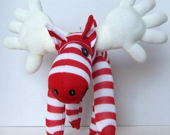 Christmas Red and White Candy Cane Sock Moose