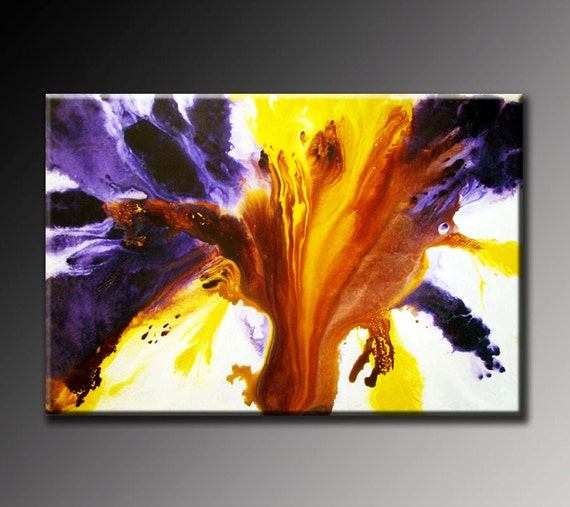 Abstract painting abstract art purple violet white yellow for Purple and yellow painting