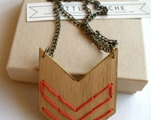 Embroidered chevron necklace