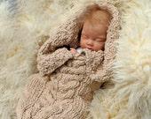 Saco de dormir para bebés, patrón de cable Aran