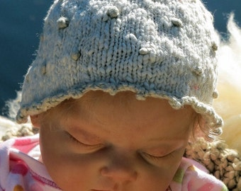 Organic Baby Hat with French Knots, Cream and Pale Khaki