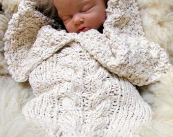 Organic Aran Cabled Baby Bunting Cotton Newborn Cocoon