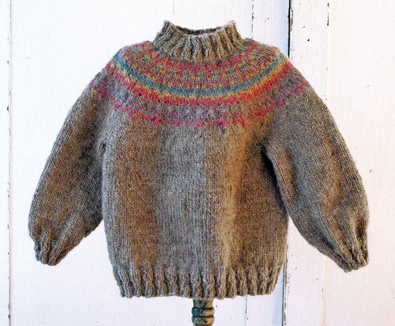 Organic Fair Isle Sweater for Toddlers, Sunset Rainbow Colors