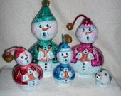 Gourd Snowman Singing Family and Snowdog Painted Gourds - 5 Piece Set Hand painted Gourds / Ready To Ship
