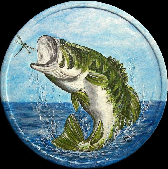 Fathers Day Hand Painted Plate Largemouth Bass & Dragon Fly Any Fish on a 10.5 inch Plate Fishing Fly Fishing Custom From Photo Fishing Gift