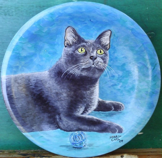 Pet Portrait Hand Painted of Your Dog or Cat or Horse Pet Lover Pets Portrait Personalized on a 10.5 Inch Coupe Style Plate Custom
