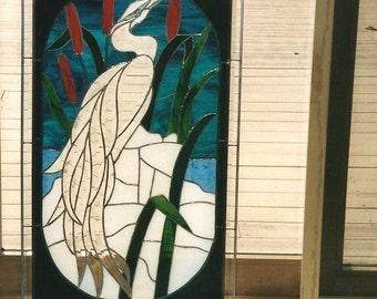 CUSTOM ONLY-Beveled and Stain Glass Heron