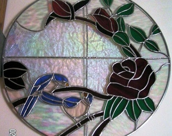 CUSTOM ONLY Oval Stained Glass Red Rose with Blue Birds Panel