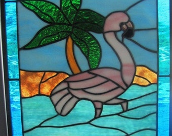 CUSTOM ORDER-Flamingo Wading by the Palm Tree