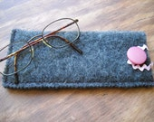 Heather Gray Felted Wool Glasses Case: repurposed wool sweater, vintage pink buttons