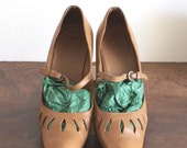 SUPER  SALE Mary Jane French retro leather natural light color 7 7,5