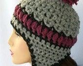 Crochet Ear Flap Hat Pattern,  Aspen Highlands earflap beanie for adults