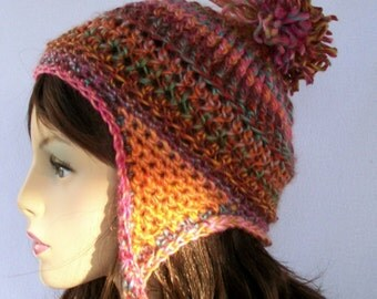 Crochet Ear Flap Hat Pattern, Ribbon Candy Earflap Beanie