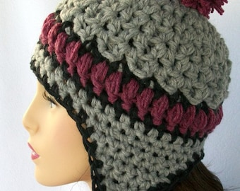 Crochet Pattern, Crochet Ear Flap Hat Pattern,  Aspen Highlands earflap beanie for adults