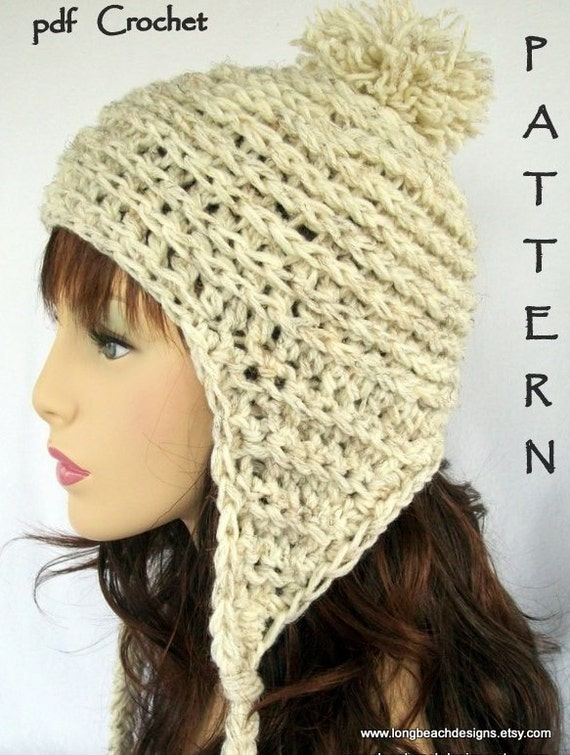 Crochet Patterns Hat With Ear Flaps : Crochet Hat Pattern Ear Flap Hat Pattern by longbeachdesigns