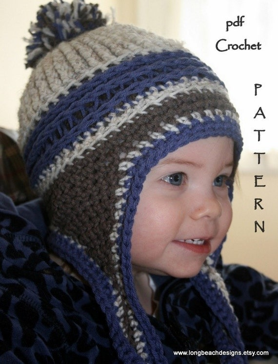 Newborn Crochet Hat Pattern With Ear Flaps : Crochet Baby Hat Pattern Ear Flap Crochet by longbeachdesigns